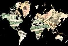 Global crises. World map with dollar bills royalty free illustration