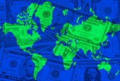 Global crises. World map with dollar bills stock illustration