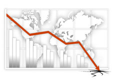 Global crisis. Graphic map with negative result Royalty Free Stock Photo