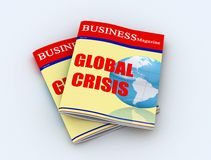 Global crisis. Two business magazine on white background -digital artwork Stock Photos