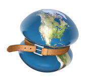 Global crisis. 3D concept with the globe and belt over white background Stock Image