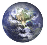 Global crisis. A face in pain superimposed on a globe vector illustration