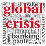 Global crisis concept on white. Global crisis concept in word tag cloud on white background stock illustration