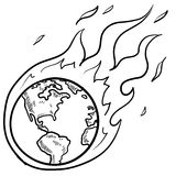 Global crisis sketch. Doodle style flaming globe illustration in vector format Stock Image