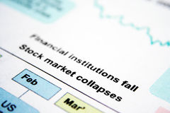 GLobal crissis. Stock chart showing stock market collapses Stock Photos