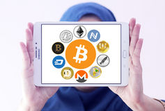 Global cryptocurrency icons like bitcoin. Logos and icons of most famous digital cryptocurrency bitcoin, litecoin, peercoin, namecoin, Primecoin, feathercoin Stock Images
