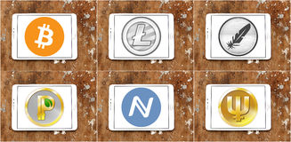 Global cryptocurrency  icons like bitcoin Stock Photos
