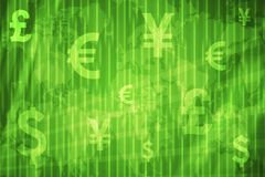 Global Currencies Abstract Background. In Green Colors Stock Photos