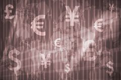 Global Currencies Abstract Background. In Purple Colors Stock Photos