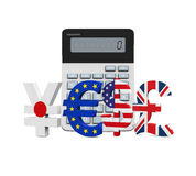 Global Currencies with Calculator Royalty Free Stock Images