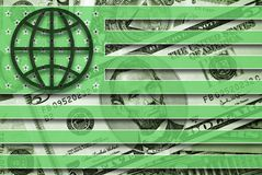 Global Currency. American flag with globe symbol and dollars on background Stock Image