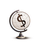 Global Currency Dollar. Globe standing on money. Hi-res digitally generated image stock illustration