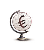 Global Currency Euro (€). Globe standing on money. Hi-res digitally generated image stock illustration