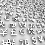Global Currency Symbols - White Royalty Free Stock Images