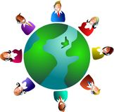 Global customer service. Customer service team around the world Stock Photo