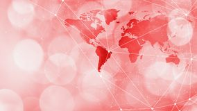 Global cyberattack digital world cyber security dots and lines connected, red bokeh circles. Connected dots with lines and graphic world map, creative abstract royalty free stock photography