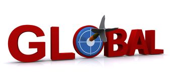 Global. In 3D red block letters with bullseye and dart on white background Stock Photo