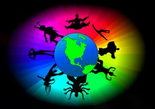 Global Dancers. The earth surrounded in color and dancers of different ethnic backgrounds Royalty Free Stock Image