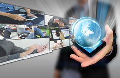Global data communication with blur businessman on background Royalty Free Stock Images