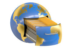 Global data storage, 3D rendering Royalty Free Stock Photo