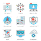 Global data technology services line icons set. Thin line icons of big data storage protection, cloud computing information service, technical support, network Stock Images