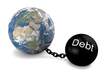 Global debt. Concept of Earth imprisoned by big heavy debt Stock Photography