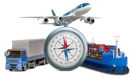 Global delivery concept. Compass with truck, airplane and cargo ship. 3D rendering royalty free stock photos