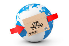 Global delivery. Free Shipping Cardboard Box with Earth Globe Vector Illustration