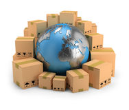 Global delivery. Globe surrounded by cardboard boxes. 3d image. White background royalty free illustration