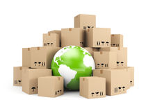 Global delivery. Heap of cardboard boxes Royalty Free Stock Photography