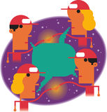 Global delivery network. Group of delivery personnel communicate and shake hands with outer space background Stock Image