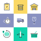 Global delivery service pictogram icons set Royalty Free Stock Photography