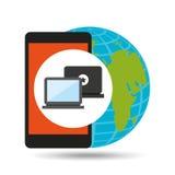 Global device digital social network Stock Photos