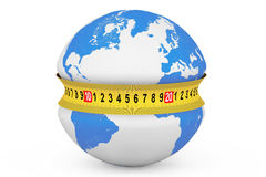 Global Diet Concept. Earth Globe with Measuring Tape Royalty Free Stock Images