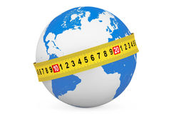 Global Diet Concept. Earth Globe with Measuring Tape Stock Photography