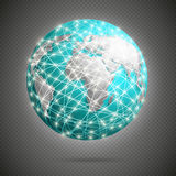 Global digital connections with glowing lights around earth Stock Photos