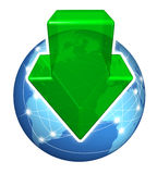 Global Digital Downloads. With a green arrow pointing down and a planet with international connections on a white background as an internet business icon.s Royalty Free Stock Image