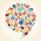 Global diversity hand prints speech bubble Stock Image