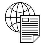 Global document icon, outline style. Global document icon. Outline illustration of global document vector icon for web design isolated on white background Royalty Free Stock Photos