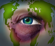 Global Domestic Violence. And abusing mother earth concept with a violent bruised black eye on a human face with a world map as a symbol of injury to the Stock Image