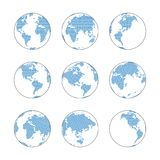 Global dot world map. Globe with blue dot world map set, vector elements, digital technology concept Royalty Free Stock Image