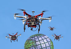 Global drones. Photo of drones flying across the globe on a spying mission Stock Image