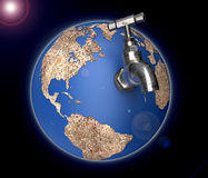 Global drought concept, dry planet earth with a water tap. Royalty Free Stock Photos