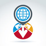 Global earth with arrows pointing out of center icon, vector  Stock Photography