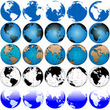 Global Earth Map Set 5x5. 25 global views, variations of the globe, a set of earths, useful as icons royalty free illustration