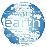 Global earth world word cloud tags. Earth globe and whole world word cloud tags Stock Image