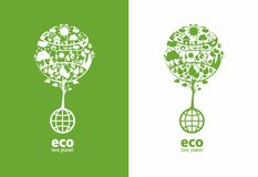 Global ecology. Tree with place for text(example eco, love planet), on two backgrounds royalty free illustration