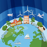 Global ecology concept, cartoon style Stock Images