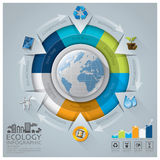 Global Ecology And Environment Conservation Infographic With Round Circle Diagram. Design Template stock illustration