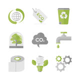 Global ecology and nature conservation flat icons set Royalty Free Stock Images